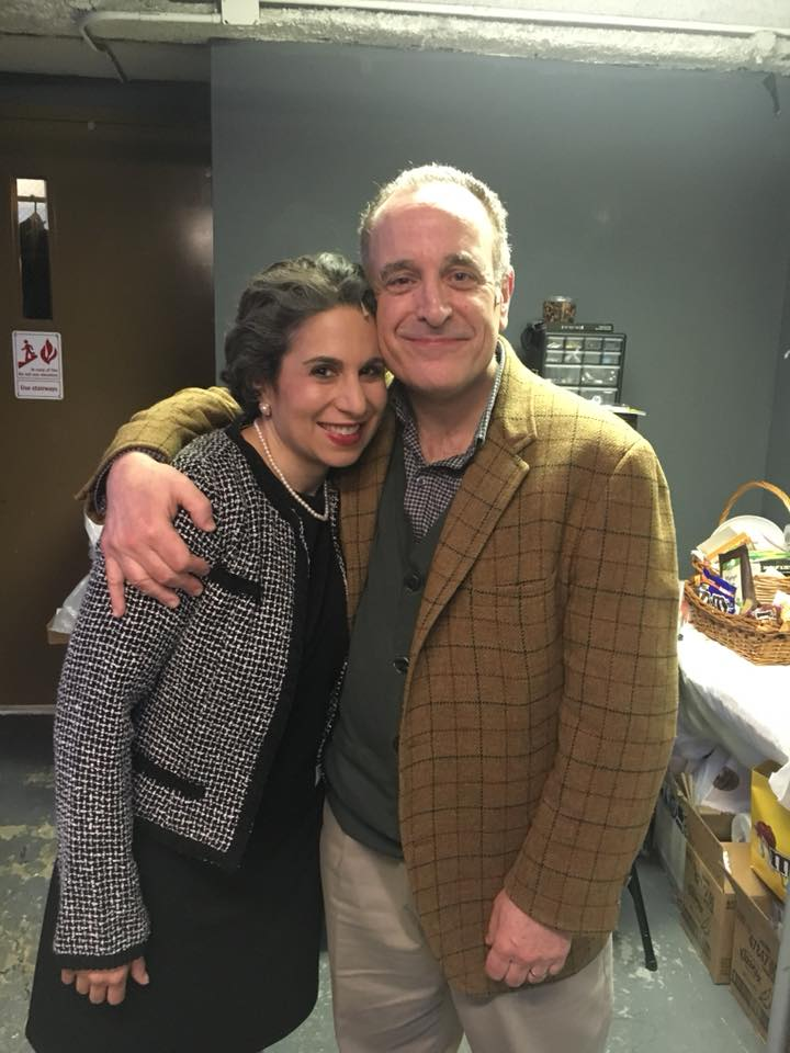 "Backstage as Frannie Weinberg in ""A Letter To Harvey Milk"" at the Acorn Theatre (with Adam Heller)"